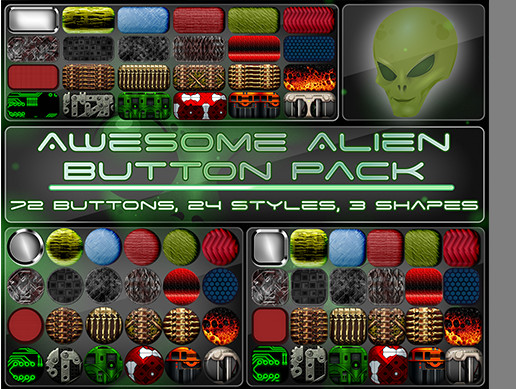 Awesome Alien Button Pack