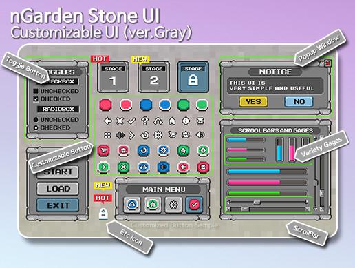 nGarden Retro Stone UI (Gray)