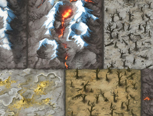 Painted 2D Terrain Tiles: Volcanic Wastes