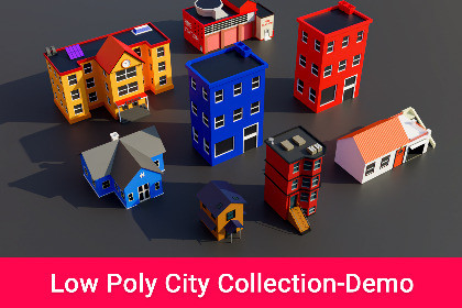 Low Poly City Pack Collection, 3D Model-Demo
