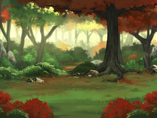 Parallax Red Forest Background
