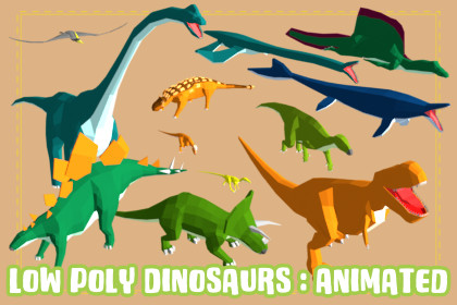 Low Poly Dinosaurs : Animated