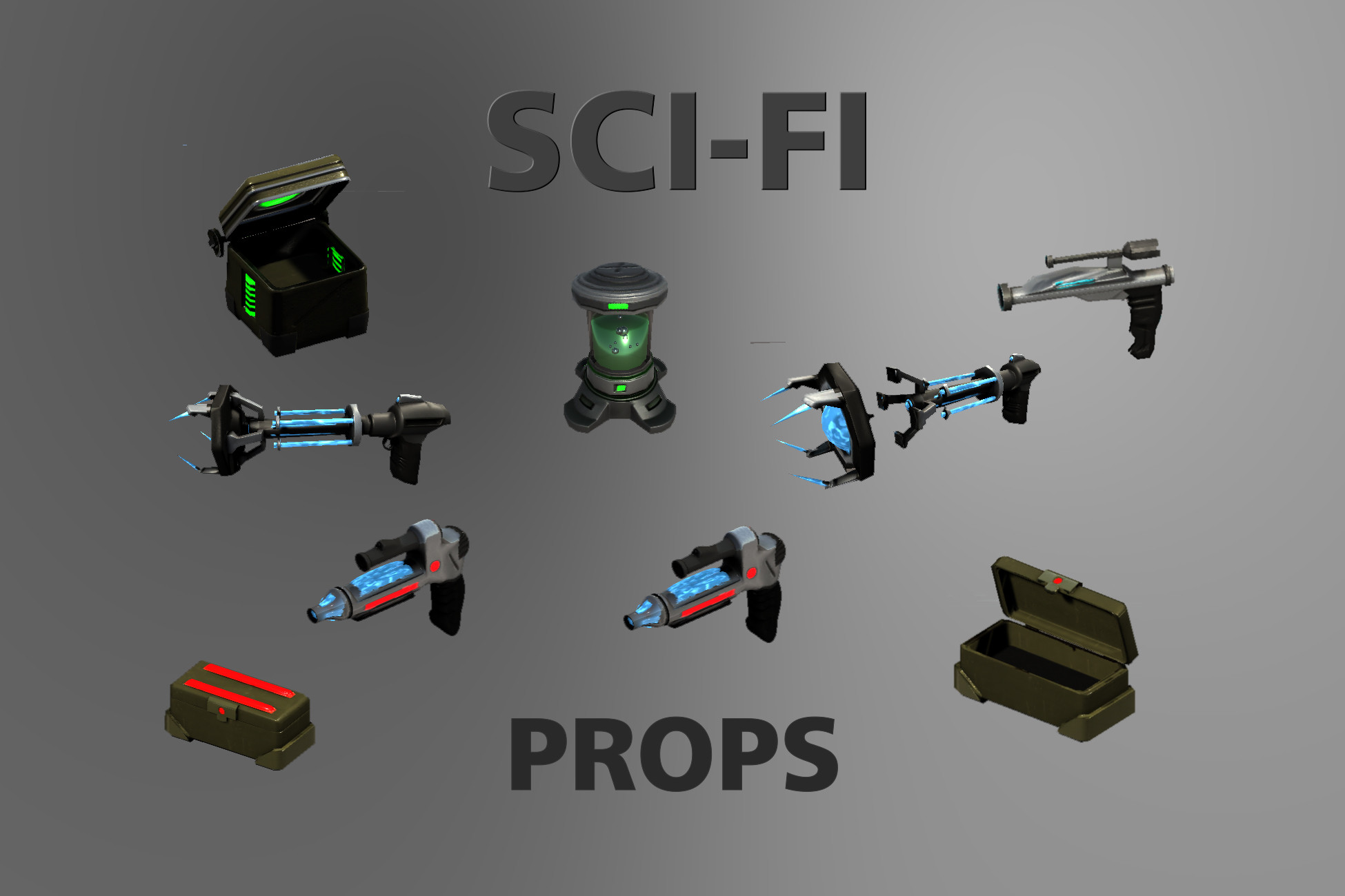Sci-fi Assets 3D - Props and Items