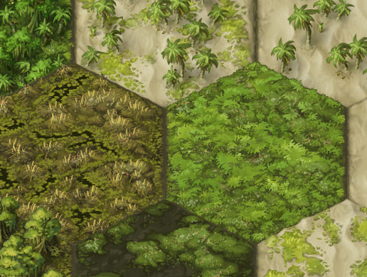 Painted 2D Terrain Hexes: Tropics and Wetlands