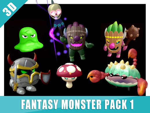 3D Monster pack vol 1 | Unity AssetStore Price down information beta