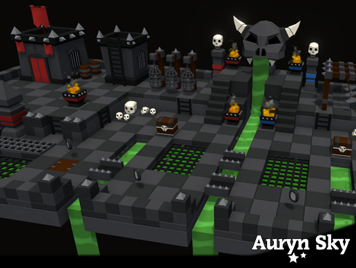 Mobile Low Poly Toon Battle Arena / Tower Defense Dungeon Pack
