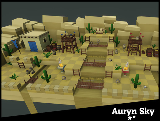 Mobile Low Poly Toon Battle Arena / Tower Defense Desert Pack