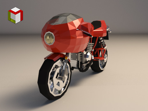 Low Poly Motorcycle 02