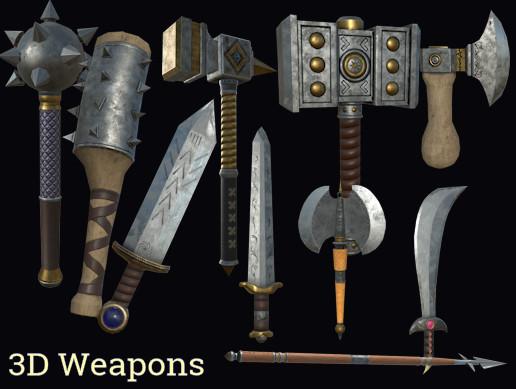 3d weapons set