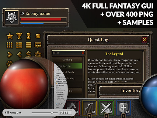 4k Full Fantasy GUI + over 400 png + samples