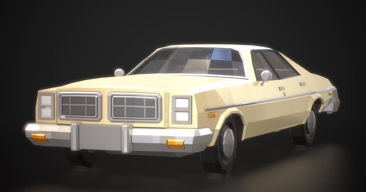 Low-Poly Retro City Car 03