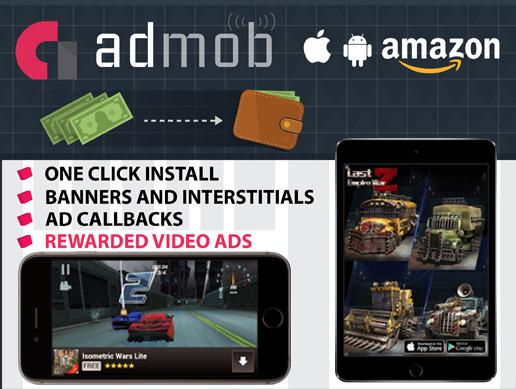پکیج یونیتی Admob for iOS, Android, Amazon