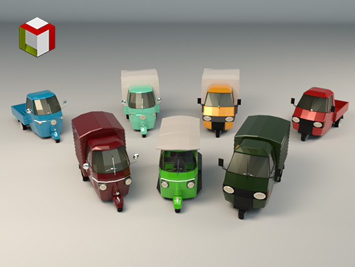 Low Poly Three-Wheeler Pack