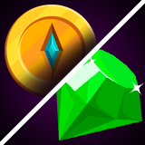 Coins, Crystals, Diamonds vector icons for IAP