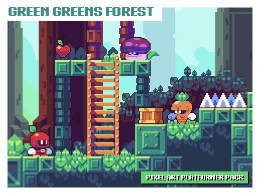 Green Greens Forest - Pixel Art Platformer Asset Pack