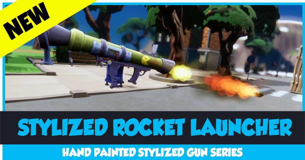 Stylized Rocket Launcher Complete Kit with Visual Effects and Sound - Hand Painted Bazooka - HQ Toon Weapon Set
