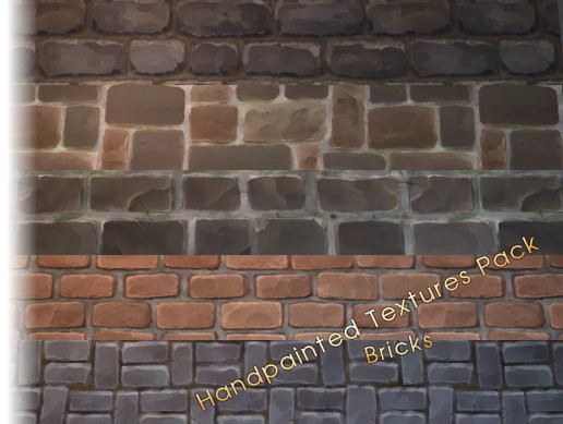 Hand Painted Stylized Textures - Bricks