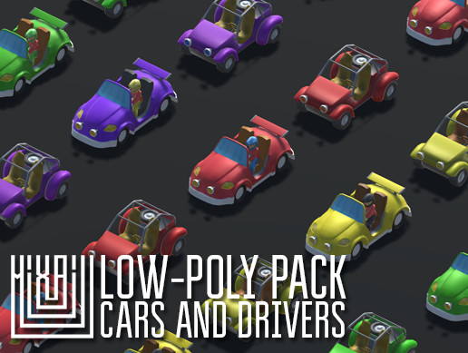 Low-Poly pack cars and drivers