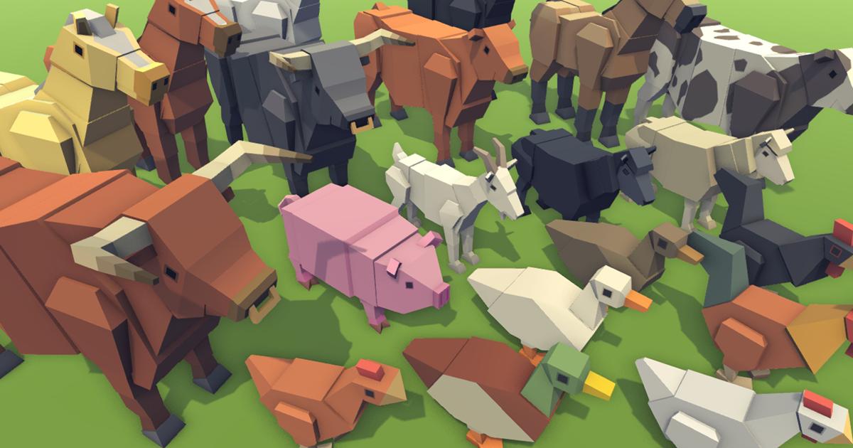 Simple Farm Animals - Cartoon Assets