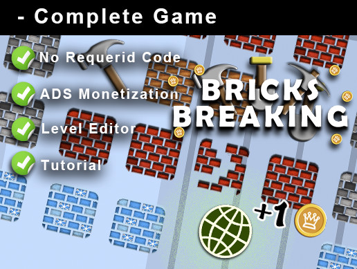 Bricks Breaking+Complete Game+Template+ADS+Editor