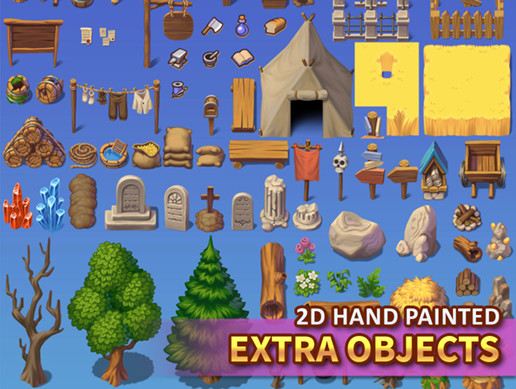 2D Hand Painted - Extra Objects Tileset