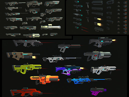 Low Poly Guns and Weapons Pack