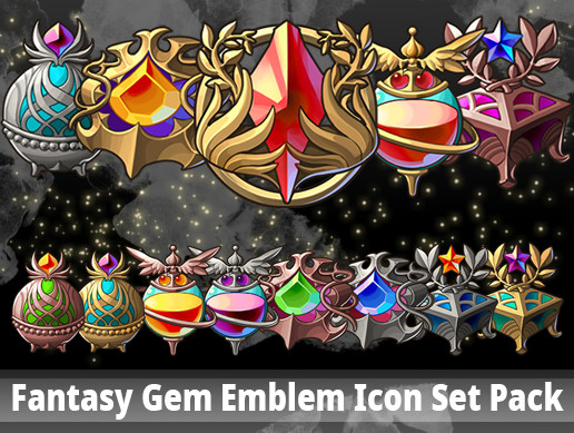 Fantasy Gem Emblem Icon Set Pack