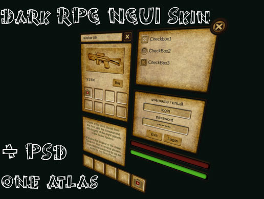 Dark RPG Theme NGUI Skin