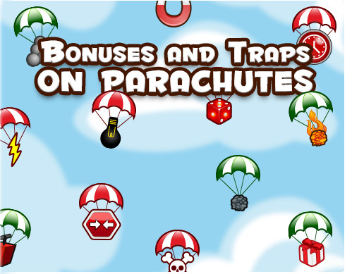Bonuses and Traps on Parachutes for 2D Brick Game