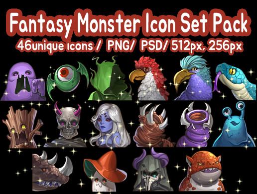 Fantasy Monster Icon Set Pack