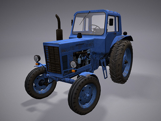 3D Low Poly Car For Games (MTZ80)