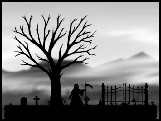2D Black & White Graveyard