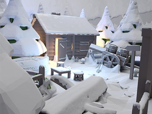 Low Poly Style Snow Assets