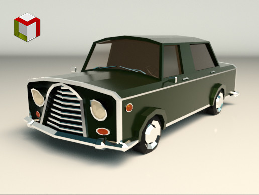 Low Poly Sedan Car 01