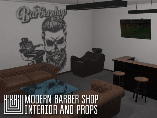 Modern barber shop - interior and props