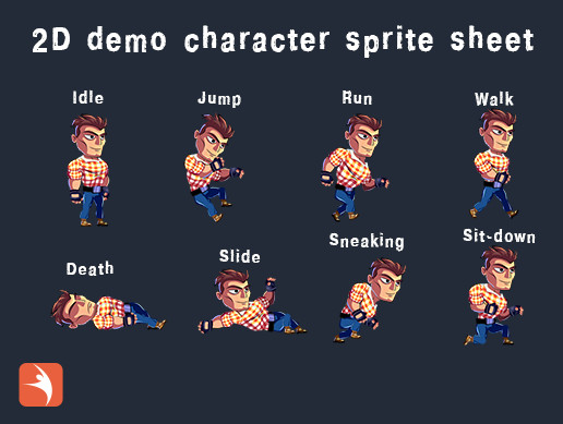 2D Demo Character sprite sheet