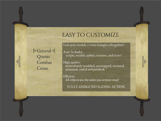 Medieval Scroll GUI Menu
