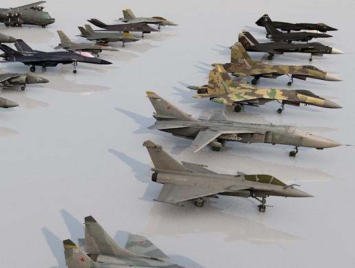 Pack of 19 high detailed modern military aircraft Low-poly 3D model