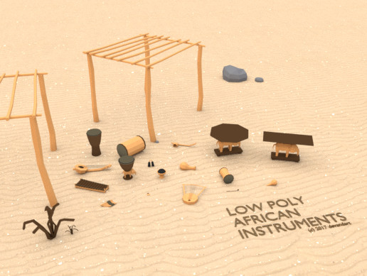 Low Poly African Instruments