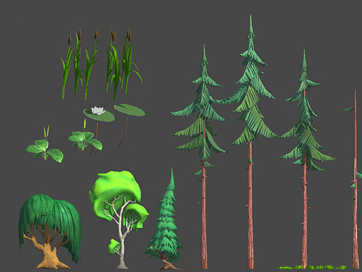 Cartoon Forest Plants