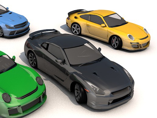pack of 5 sports car low poly