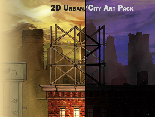 2D Urban / City 4K Art Pack. Hand Drawn, Pastel Style!