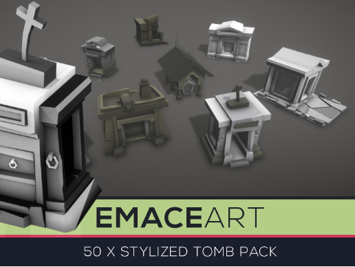 Low Poly Cemetery Tomb Kit with LODs