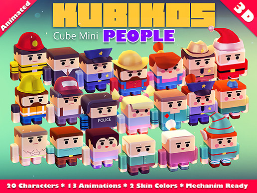 KUBIKOS - People 20 Animated Cube Characters