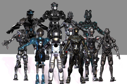 Cyber humanoid sci fi robot. Pack