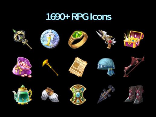 1690+ RPG Icons