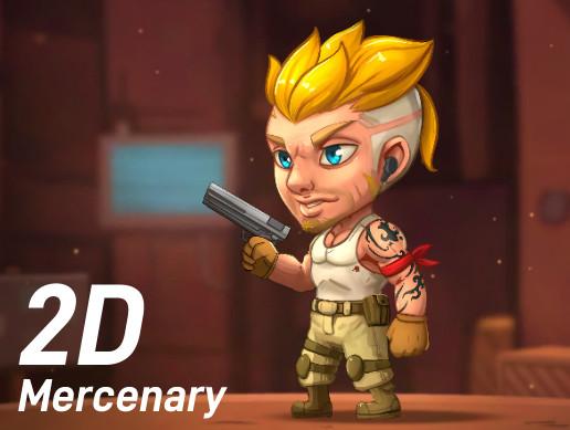 2D Chibi Mercenary Character (Spine)