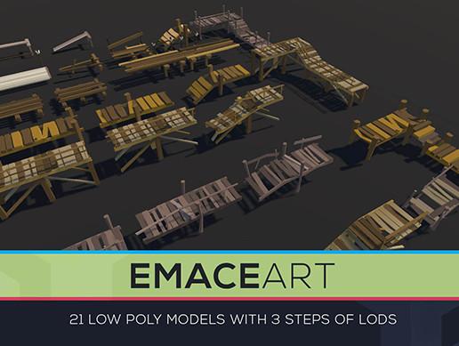 Low Poly Bridges Pack 1-3 LODS