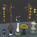 Ancient road lamp collection