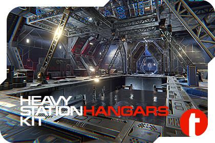 Sci-Fi Heavy Station Kit hangars
